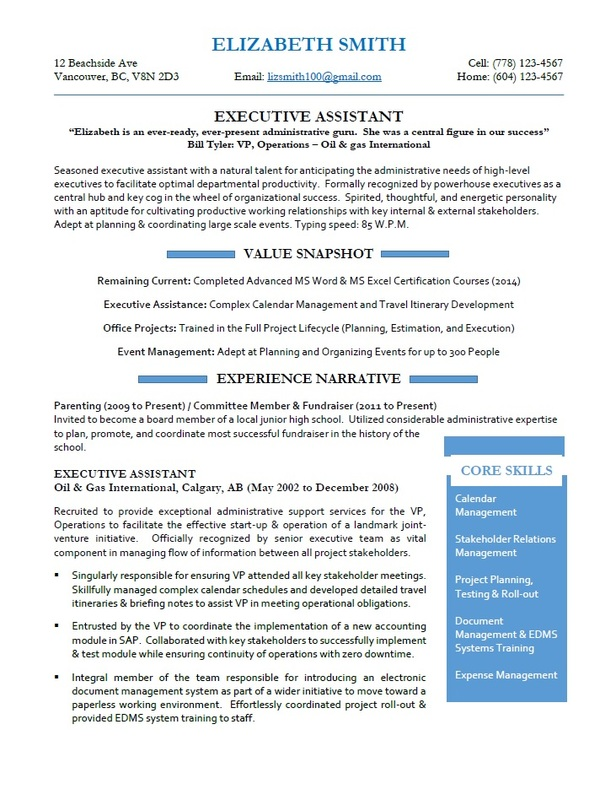Toronto Resume Services - Executive Assistant Resume Sample