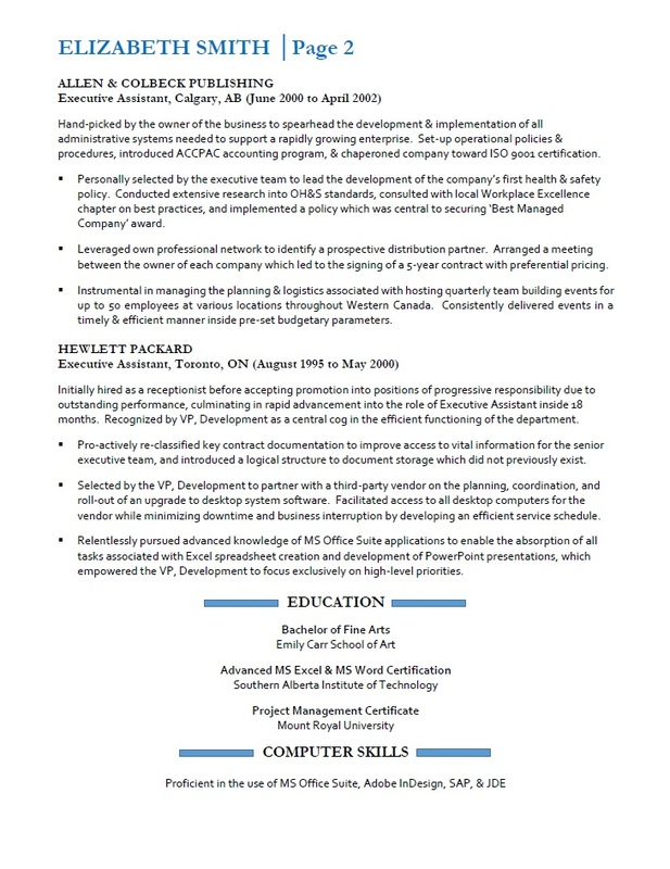 Resumes Services Toronto - Sample Executive Assistant Resume - Page 2