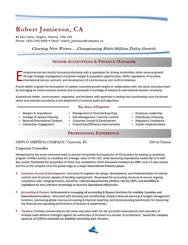 Best Toronto Resume Writer - Finance Manager Resume Sample
