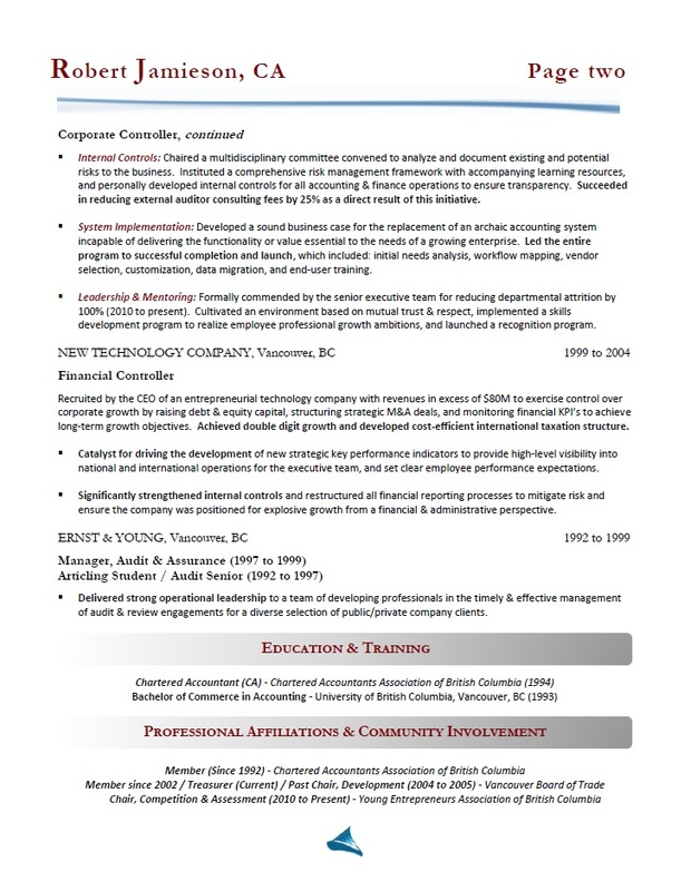 Toronto Resume Writing - Accountant / Controller Resume Sample