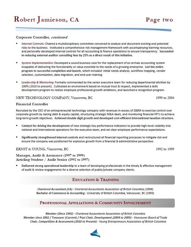 Accountant / Controller Resume Sample Toronto