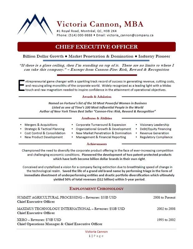 Award-Winning Executive Resumes Toronto - Executive Resume Sample